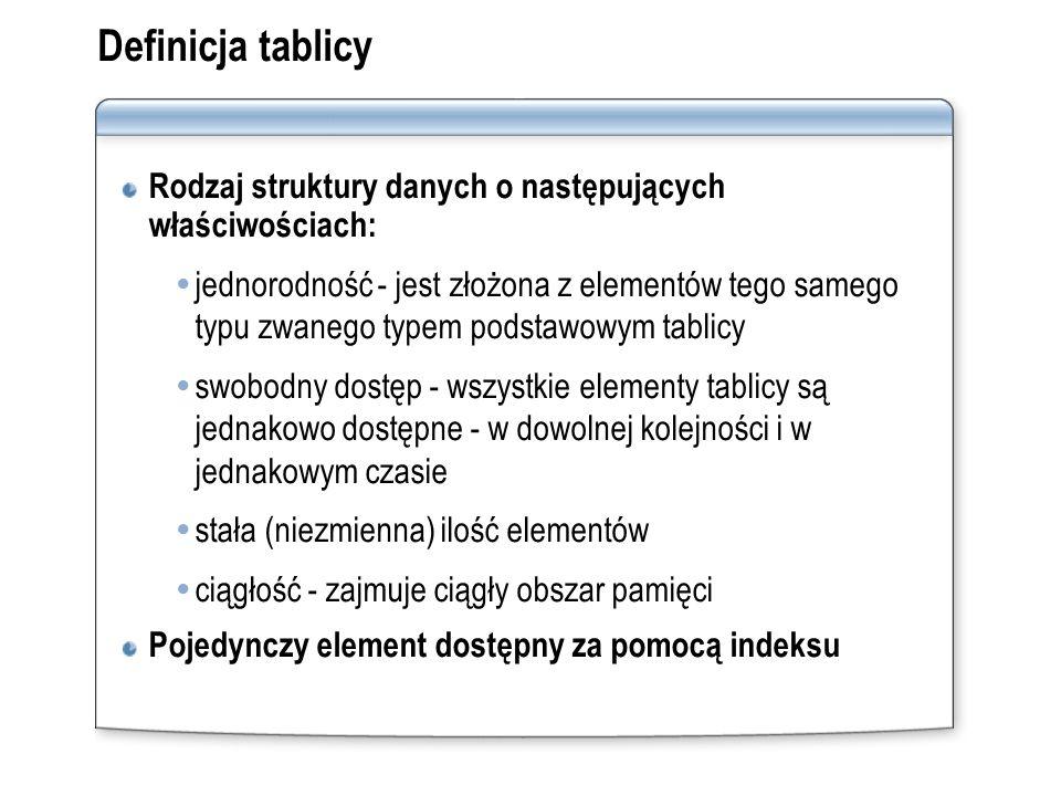 Definicja tablicy Rodzaj struktury danych o następujących właściwościach: