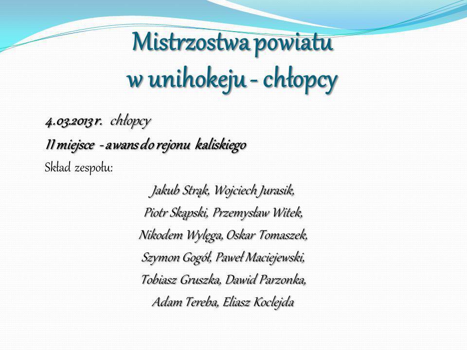 Mistrzostwa powiatu w unihokeju - chłopcy