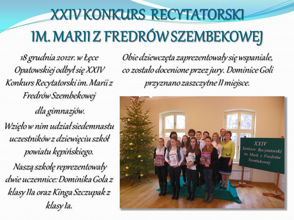 XXIV KONKURS RECYTATORSKI IM. MARII Z FREDRÓW SZEMBEKOWEJ