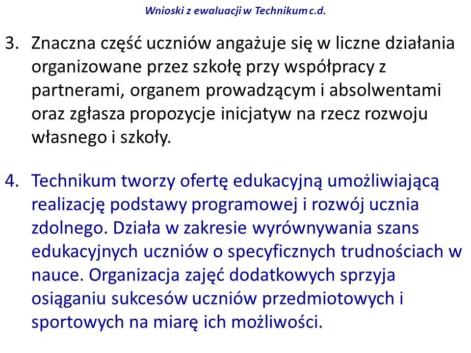Wnioski z ewaluacji w Technikum c.d.