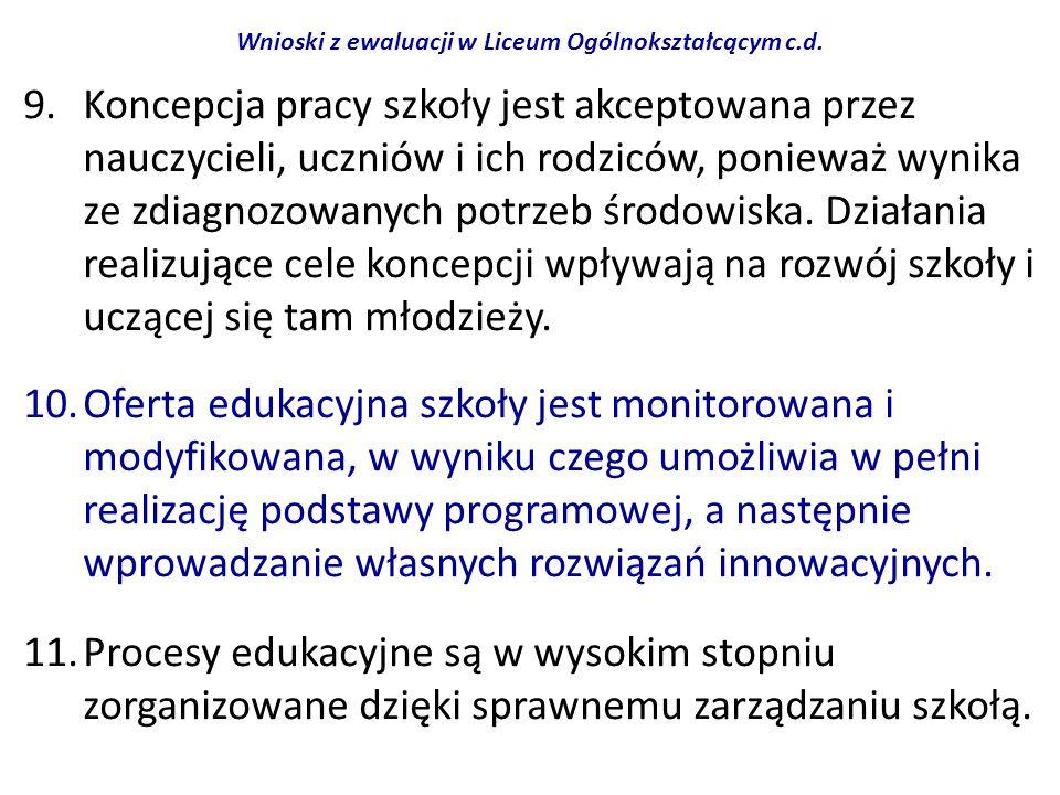 Wnioski z ewaluacji w Liceum Ogólnokształcącym c.d.