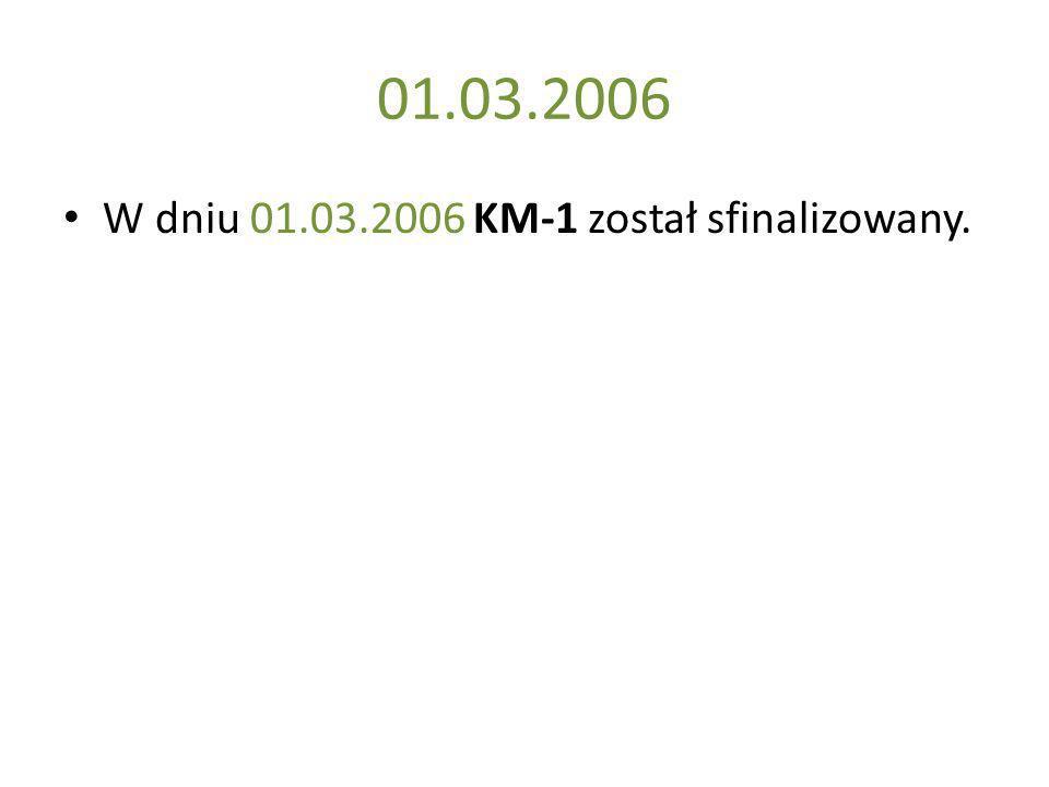 01.03.2006 W dniu 01.03.2006 KM-1 został sfinalizowany.