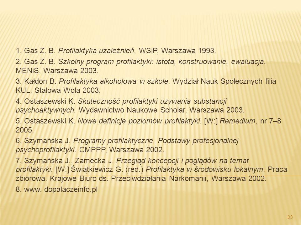 1. Gaś Z. B. Profilaktyka uzależnień, WSiP, Warszawa 1993.