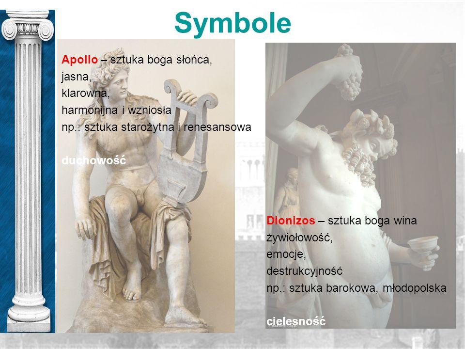 Symbole Apollo – sztuka boga słońca, jasna, klarowna,