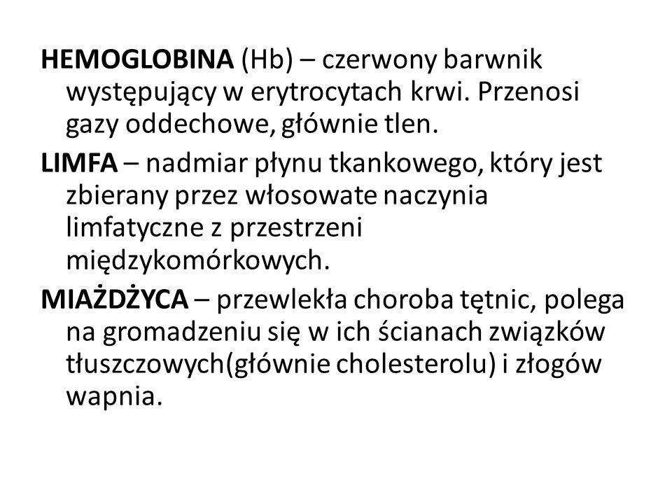 HEMOGLOBINA (Hb) – czerwony barwnik występujący w erytrocytach krwi