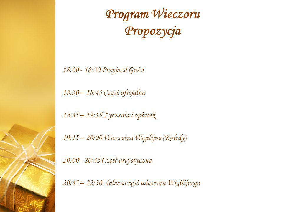 Program Wieczoru Propozycja