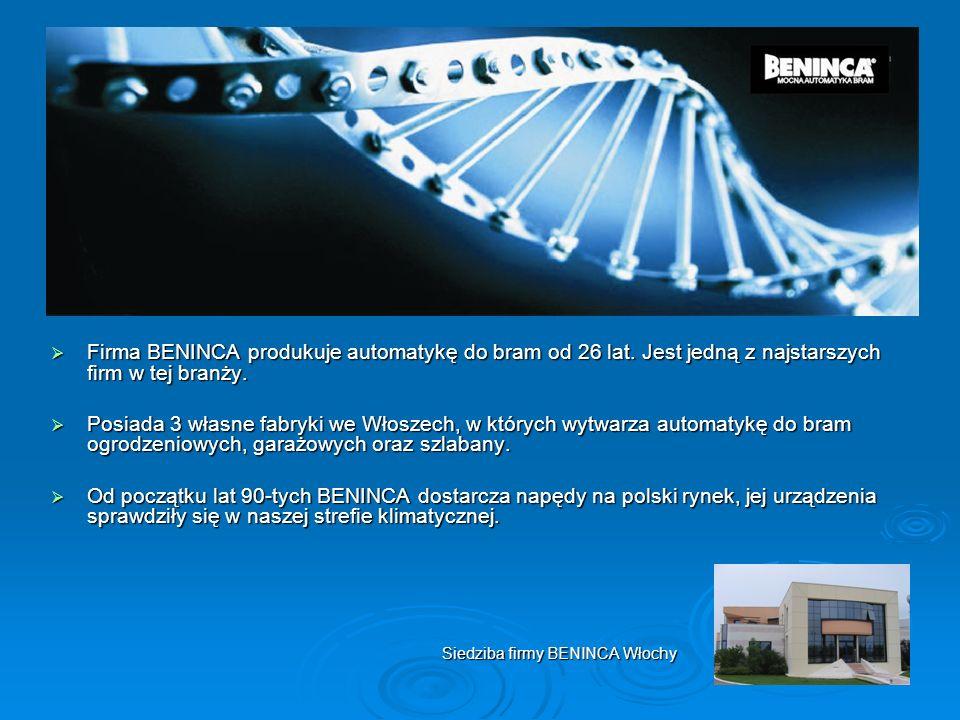 Firma BENINCA produkuje automatykę do bram od 26 lat