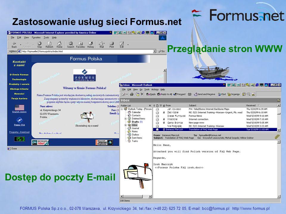 Przeglądanie stron WWW Dostęp do poczty E-mail