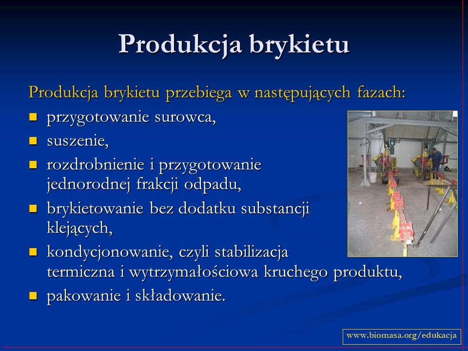 Produkcja brykietu Produkcja brykietu przebiega w następujących fazach: przygotowanie surowca, suszenie,