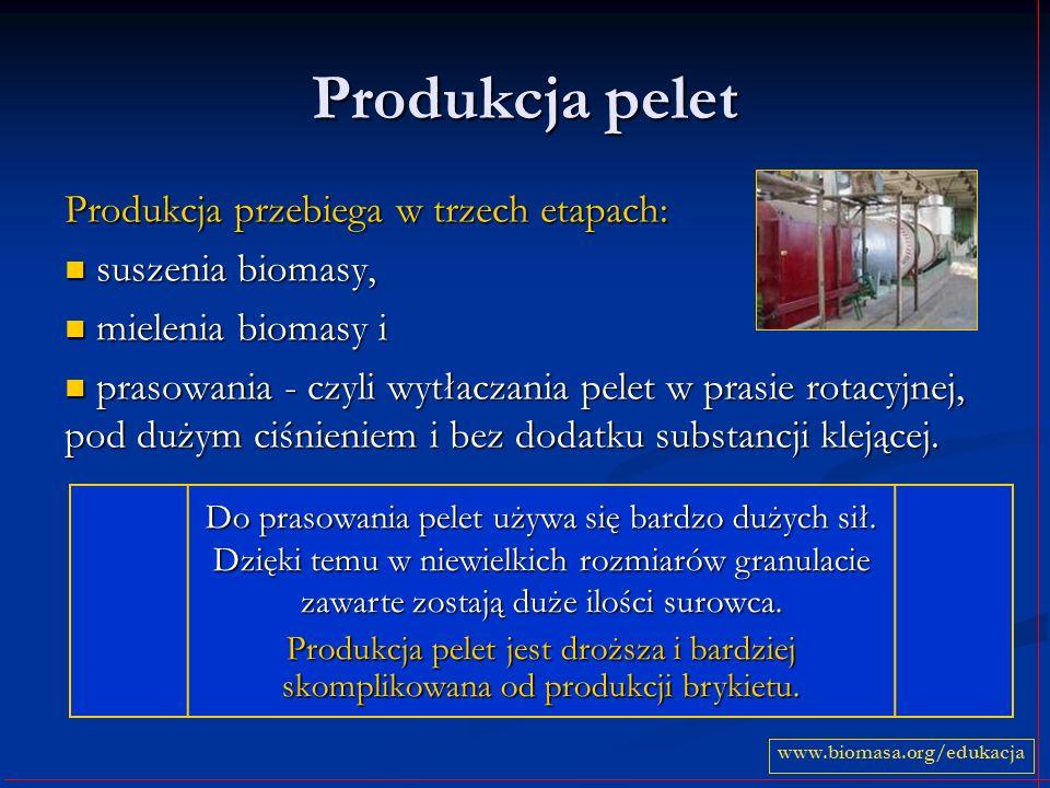 Produkcja pelet Produkcja przebiega w trzech etapach: