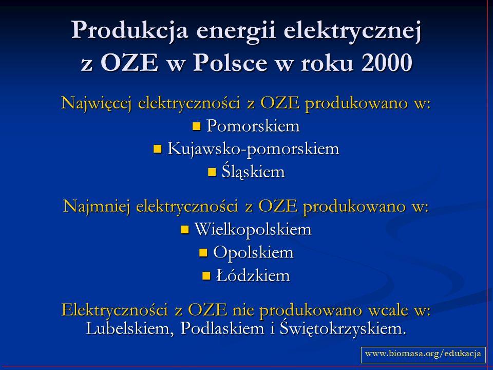 Produkcja energii elektrycznej z OZE w Polsce w roku 2000
