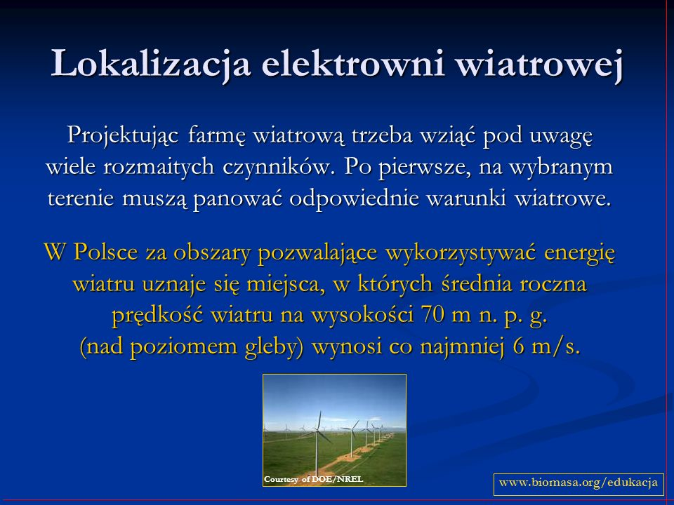 Lokalizacja elektrowni wiatrowej