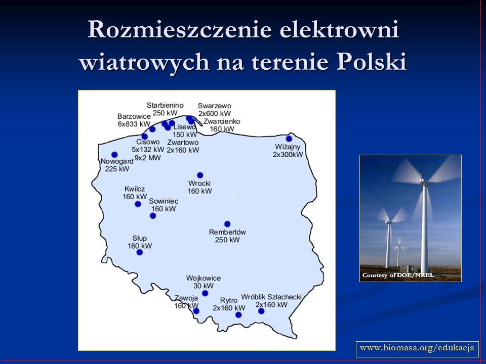 Rozmieszczenie elektrowni wiatrowych na terenie Polski