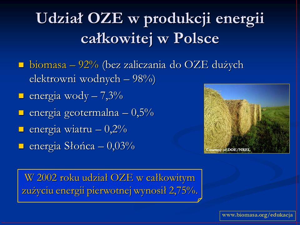 Udział OZE w produkcji energii całkowitej w Polsce
