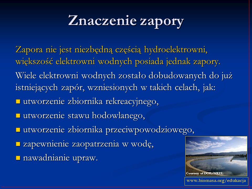 Znaczenie zapory Zapora nie jest niezbędną częścią hydroelektrowni, większość elektrowni wodnych posiada jednak zapory.