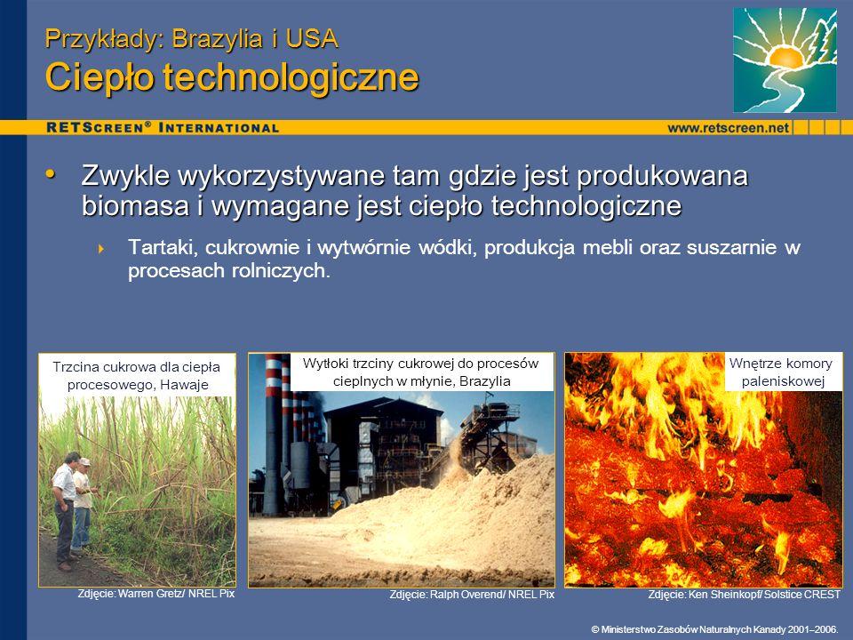 Przykłady: Brazylia i USA Ciepło technologiczne