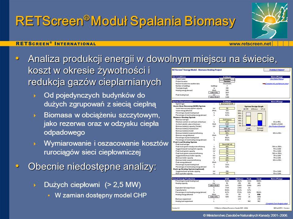 RETScreen® Moduł Spalania Biomasy