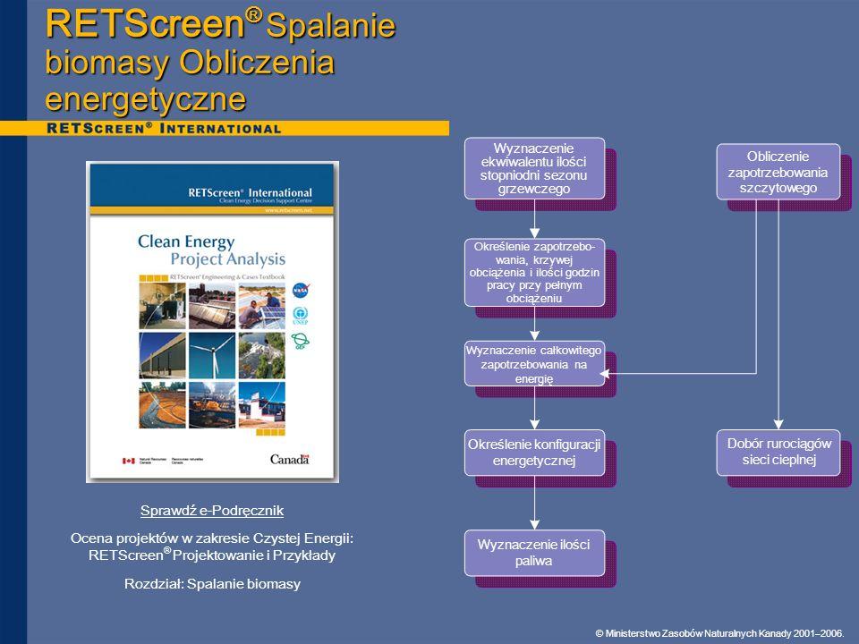 RETScreen® Spalanie biomasy Obliczenia energetyczne