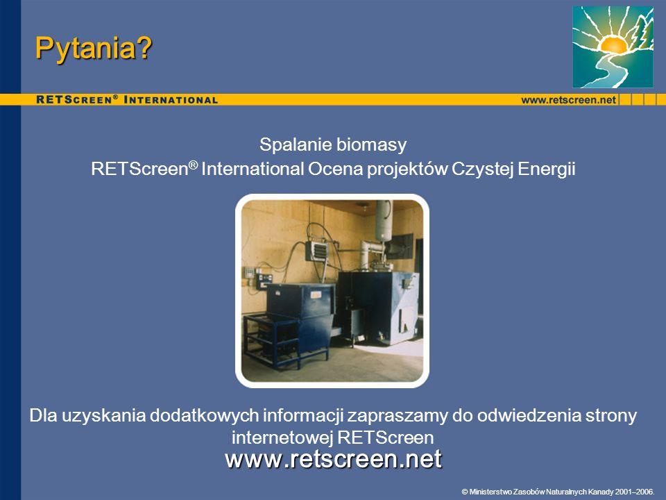 RETScreen® International Ocena projektów Czystej Energii