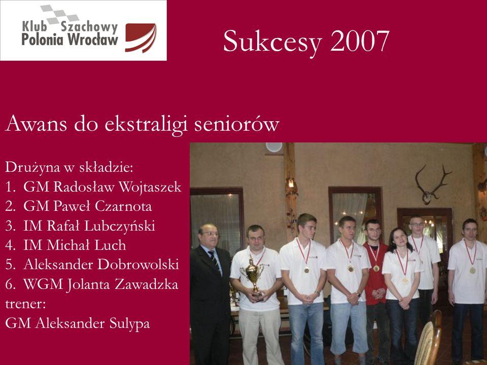 Sukcesy 2007 Awans do ekstraligi seniorów Drużyna w składzie: