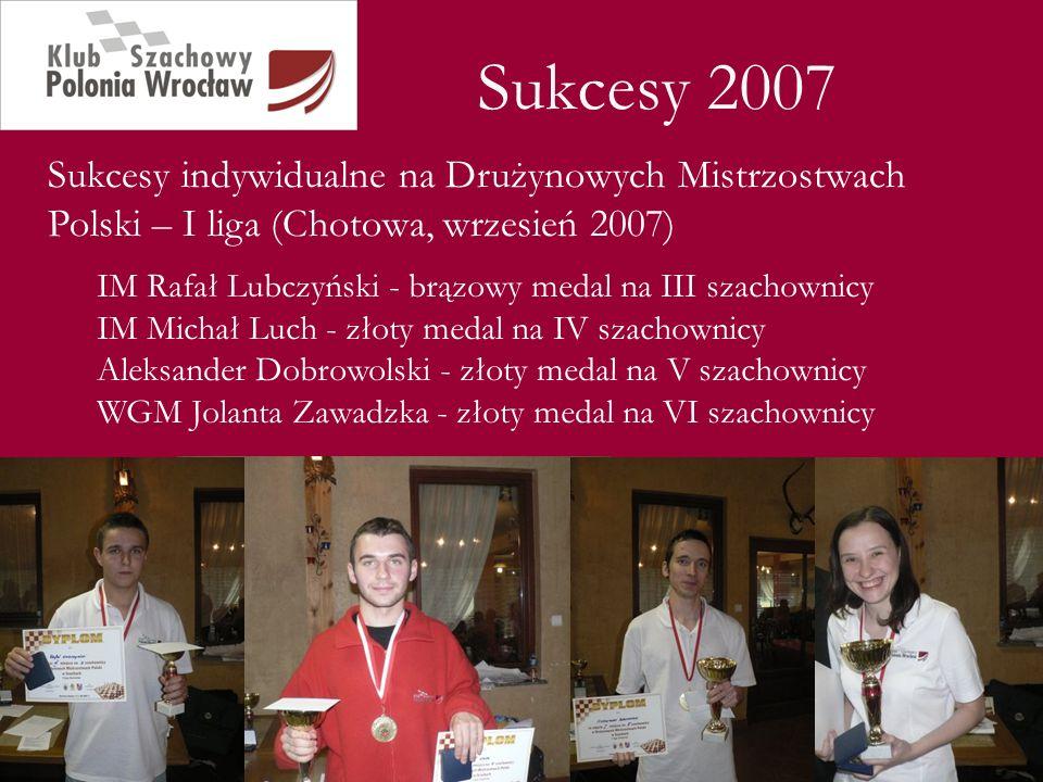 Sukcesy 2007 Sukcesy indywidualne na Drużynowych Mistrzostwach Polski – I liga (Chotowa, wrzesień 2007)