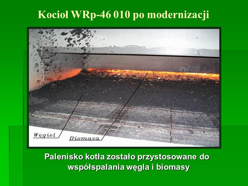 Palenisko kotła zostało przystosowane do współspalania węgla i biomasy