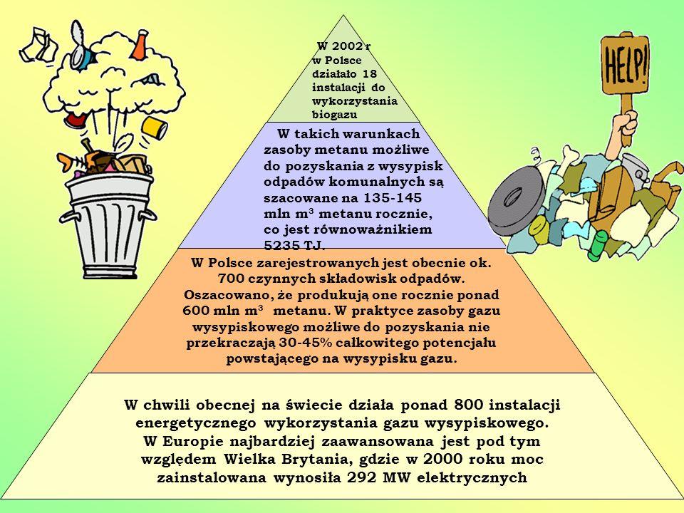 W 2002 r w Polsce działało 18 instalacji do wykorzystania biogazu