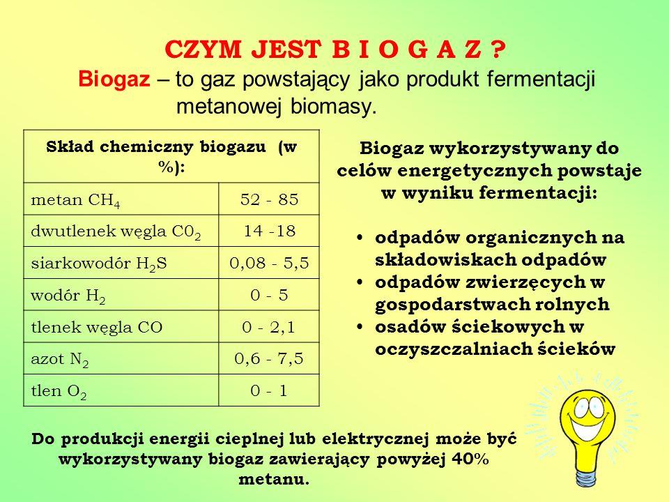 Skład chemiczny biogazu (w %):