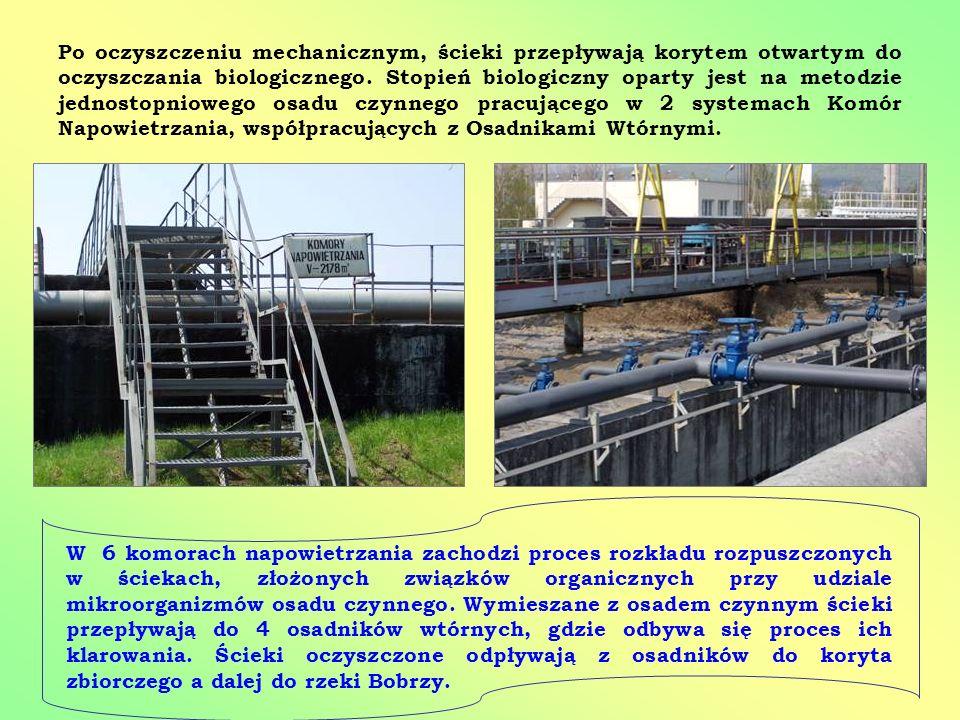 Po oczyszczeniu mechanicznym, ścieki przepływają korytem otwartym do oczyszczania biologicznego. Stopień biologiczny oparty jest na metodzie jednostopniowego osadu czynnego pracującego w 2 systemach Komór Napowietrzania, współpracujących z Osadnikami Wtórnymi.
