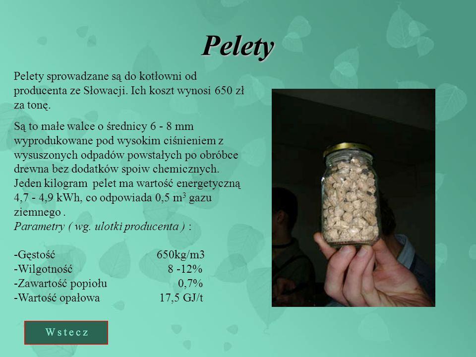 Pelety Pelety sprowadzane są do kotłowni od producenta ze Słowacji. Ich koszt wynosi 650 zł za tonę.