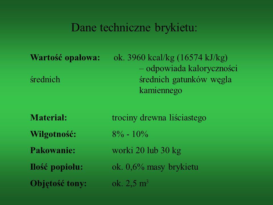 Dane techniczne brykietu: