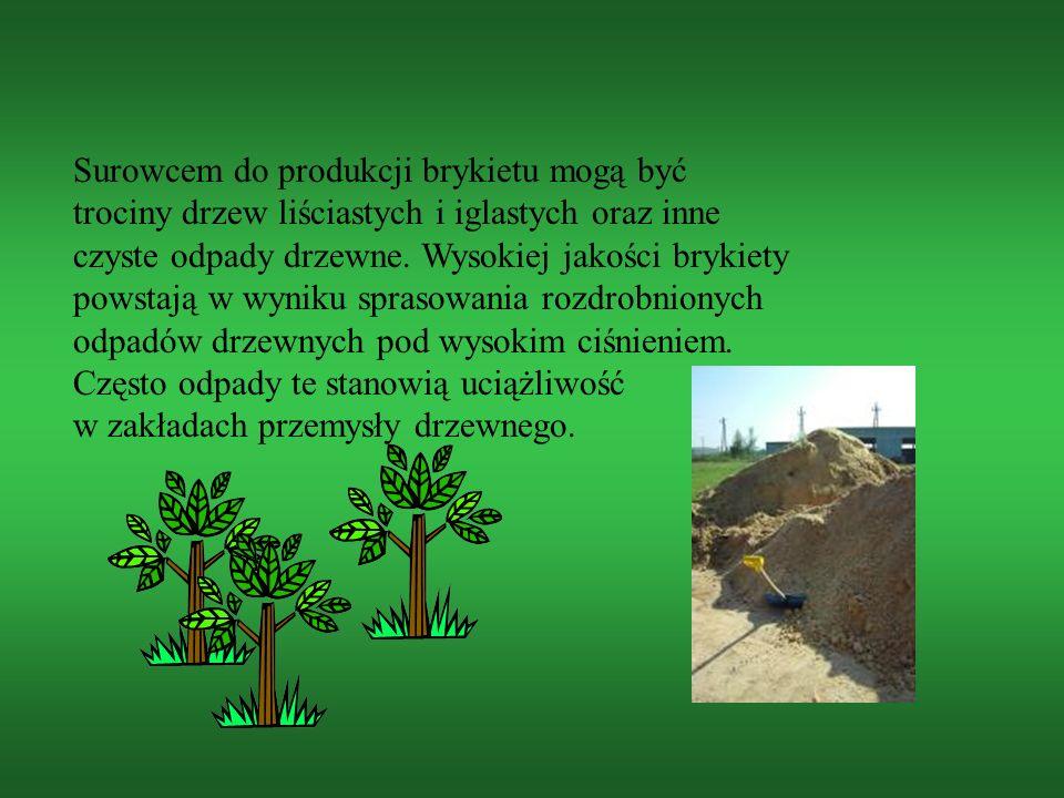 Surowcem do produkcji brykietu mogą być trociny drzew liściastych i iglastych oraz inne czyste odpady drzewne.