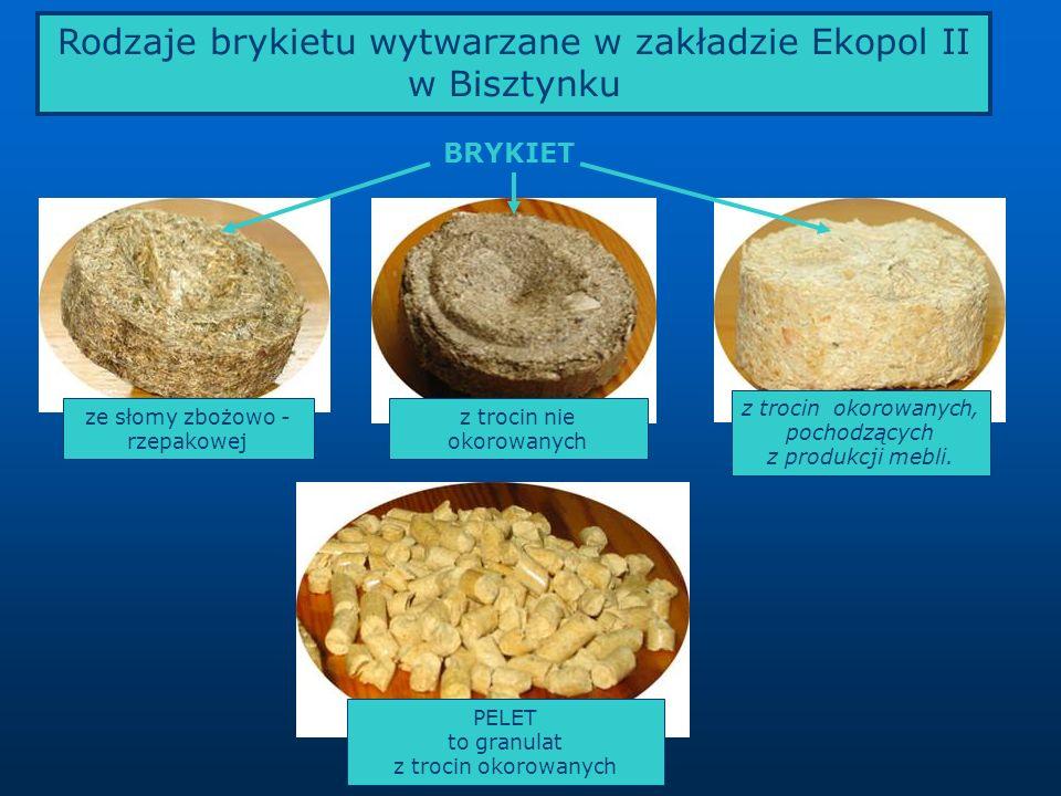 Rodzaje brykietu wytwarzane w zakładzie Ekopol II w Bisztynku
