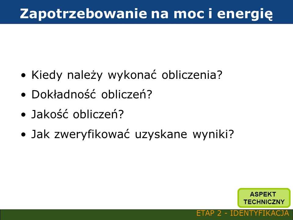Zapotrzebowanie na moc i energię
