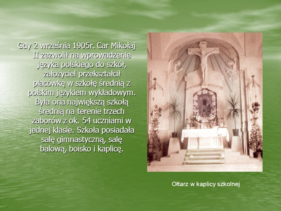 Ołtarz w kaplicy szkolnej