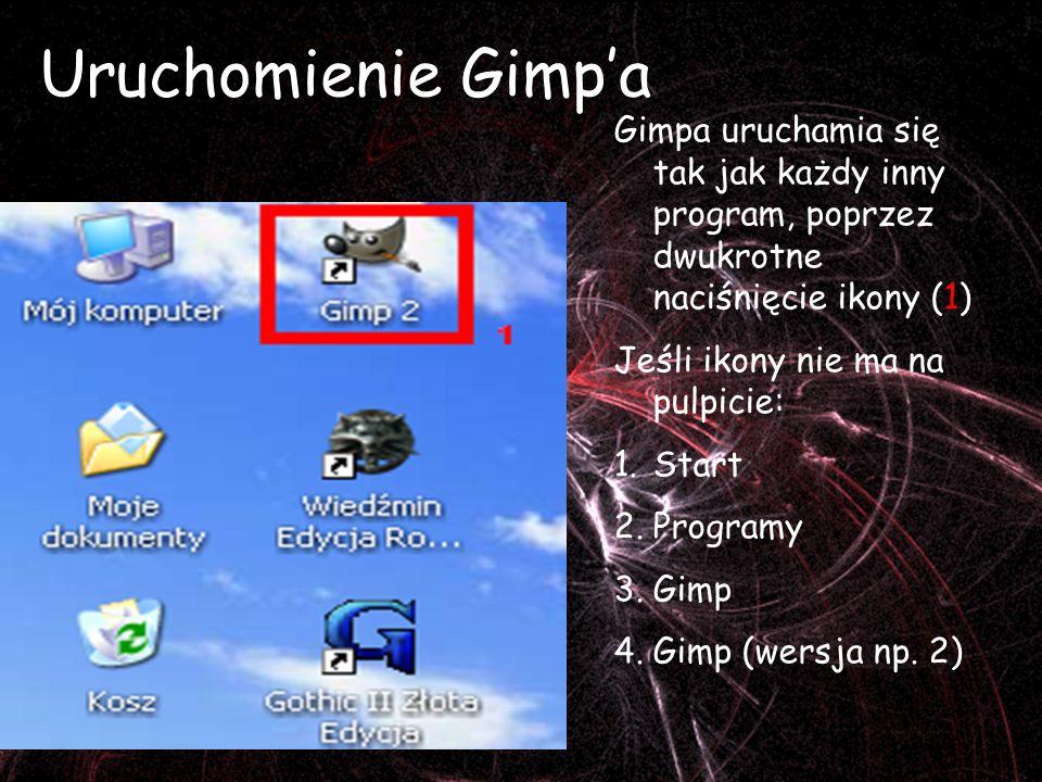 Uruchomienie Gimp'a Gimpa uruchamia się tak jak każdy inny program, poprzez dwukrotne naciśnięcie ikony (1)