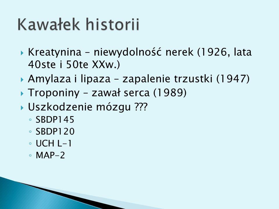 Kawałek historii Kreatynina – niewydolność nerek (1926, lata 40ste i 50te XXw.) Amylaza i lipaza – zapalenie trzustki (1947)