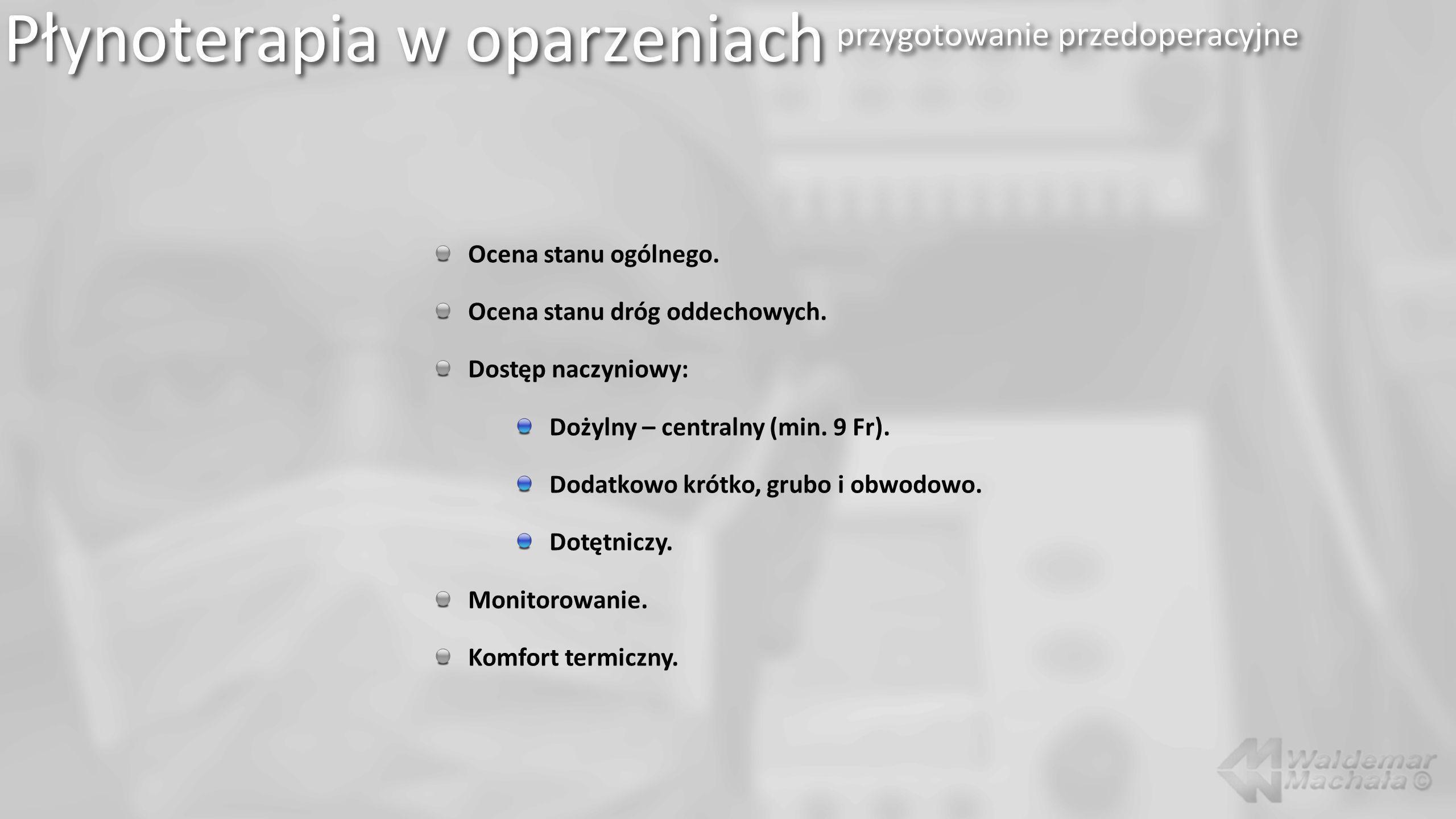 Płynoterapia w oparzeniach przygotowanie przedoperacyjne