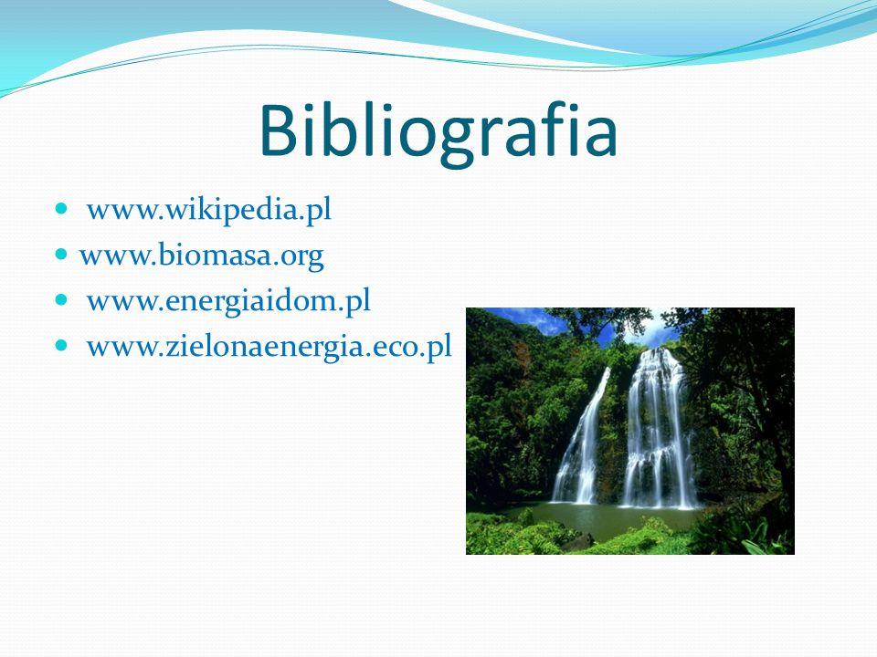 Bibliografia www.wikipedia.pl www.biomasa.org www.energiaidom.pl