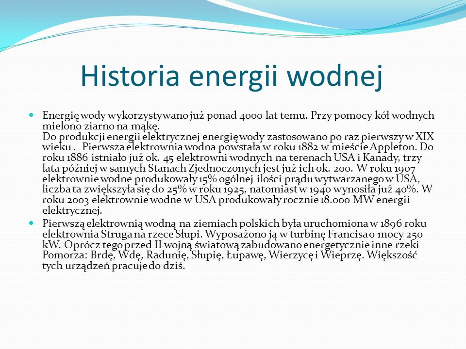 Historia energii wodnej