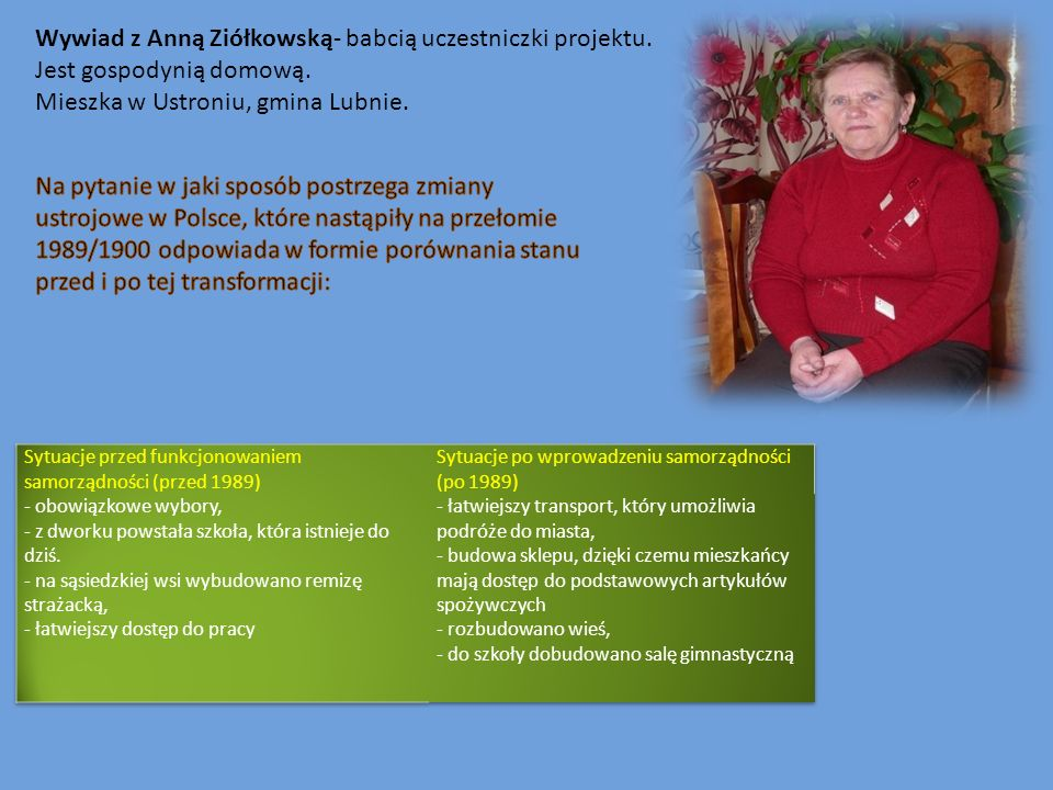 Wywiad z Anną Ziółkowską- babcią uczestniczki projektu.
