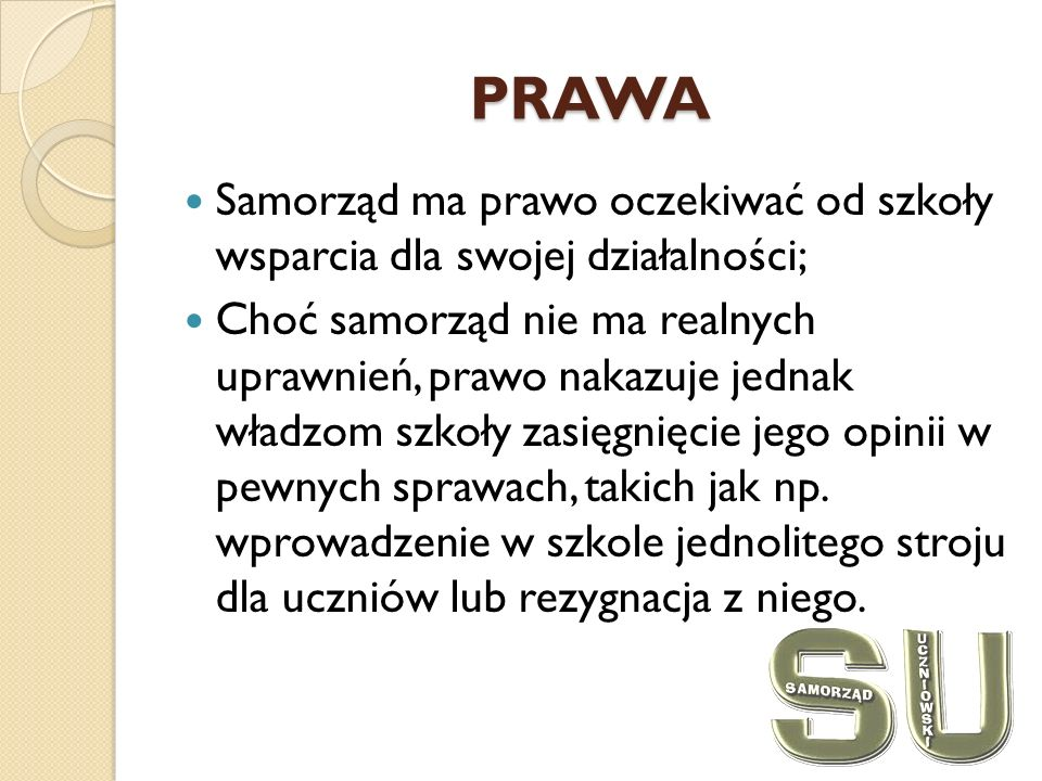 PRAWA Samorząd ma prawo oczekiwać od szkoły wsparcia dla swojej działalności;