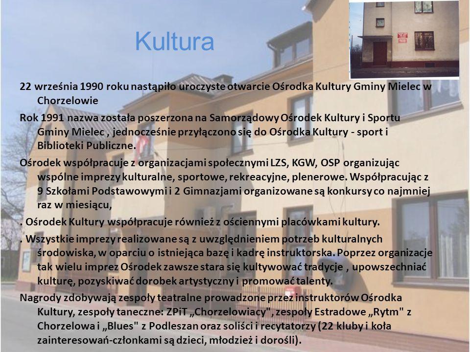 Kultura 22 września 1990 roku nastąpiło uroczyste otwarcie Ośrodka Kultury Gminy Mielec w Chorzelowie.