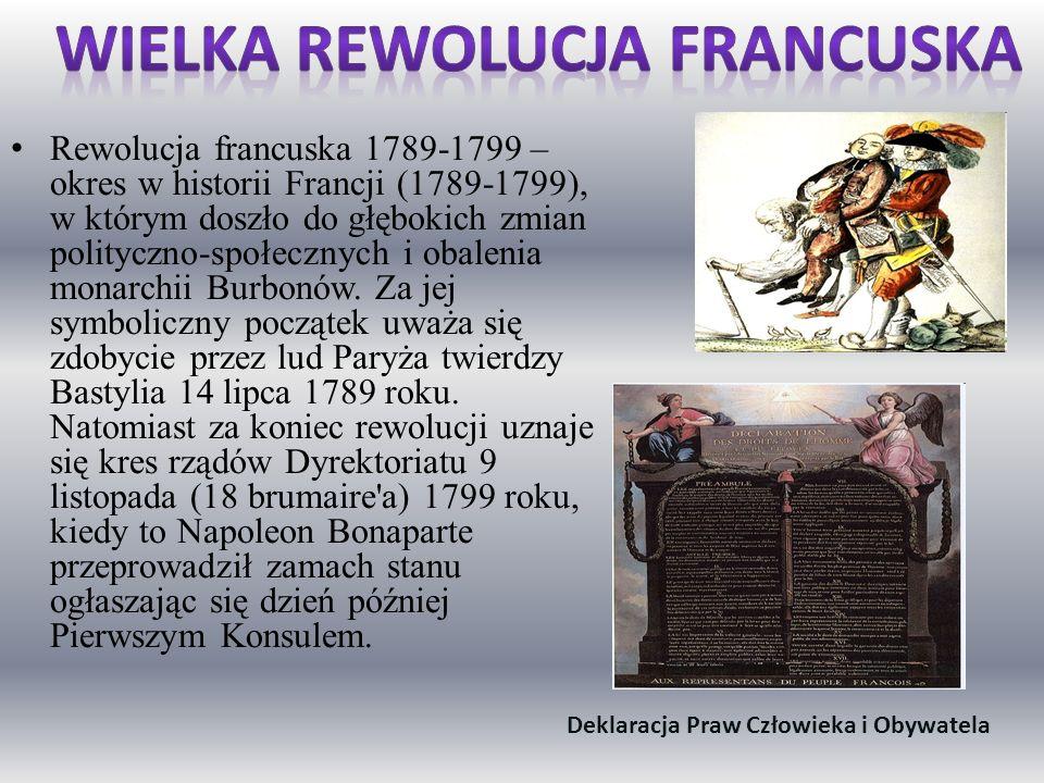 Wielka rewolucja francuska Deklaracja Praw Człowieka i Obywatela