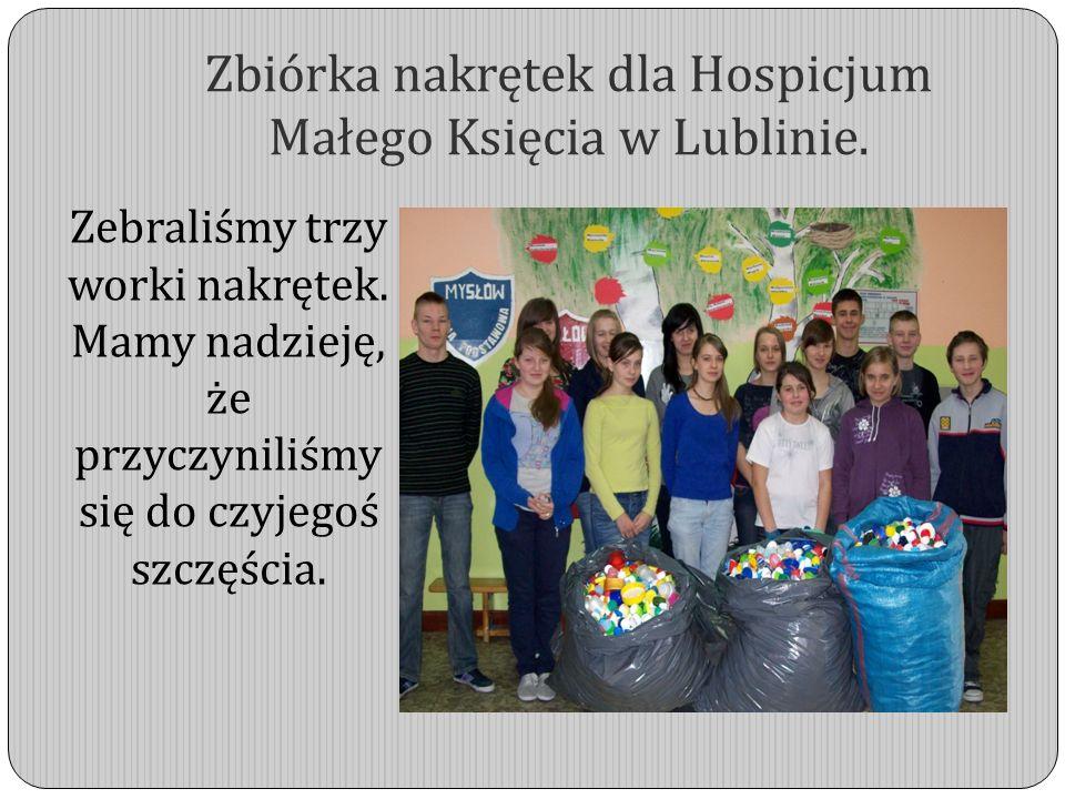 Zbiórka nakrętek dla Hospicjum Małego Księcia w Lublinie.