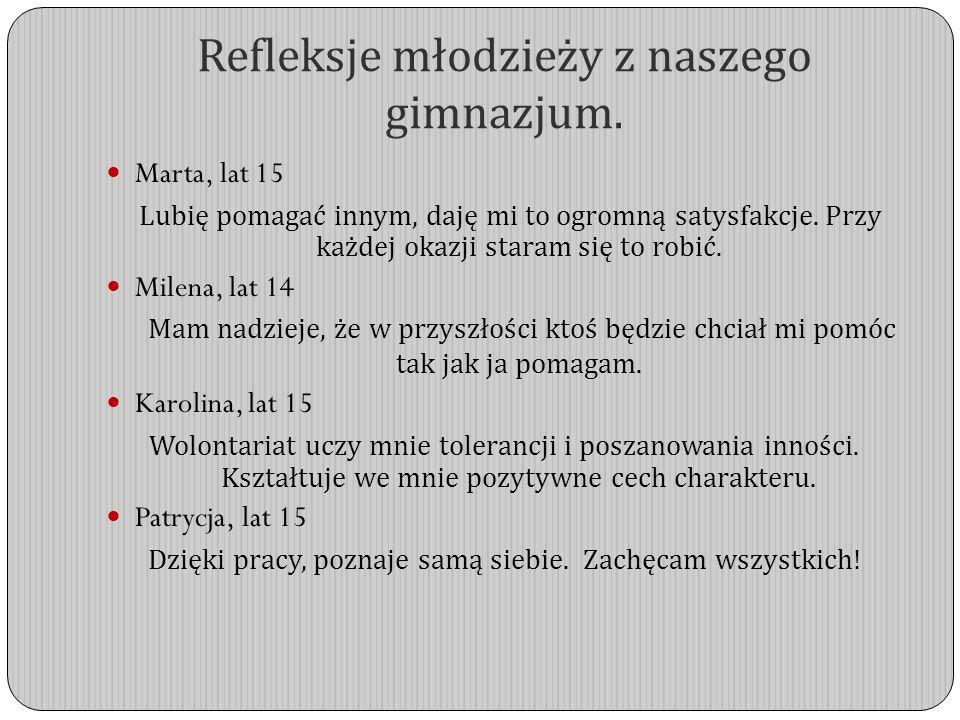 Refleksje młodzieży z naszego gimnazjum.