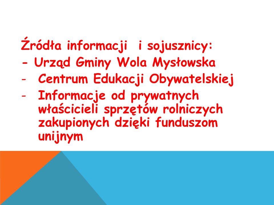 Źródła informacji i sojusznicy: