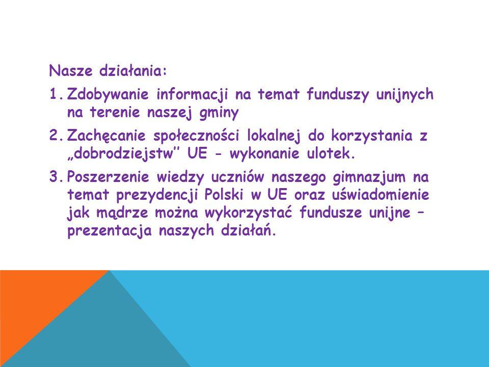 Nasze działania: Zdobywanie informacji na temat funduszy unijnych na terenie naszej gminy.