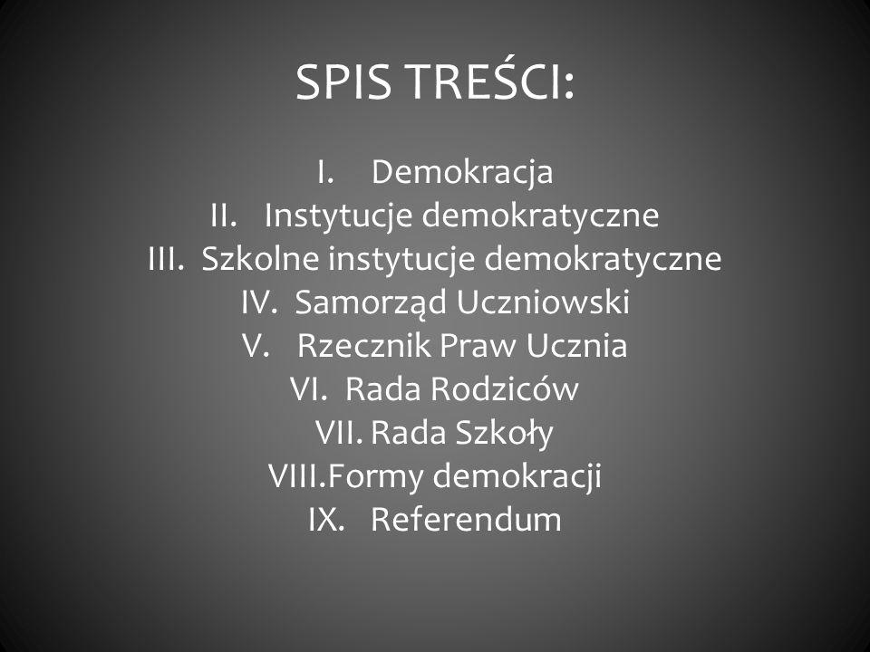 SPIS TREŚCI: Demokracja Instytucje demokratyczne