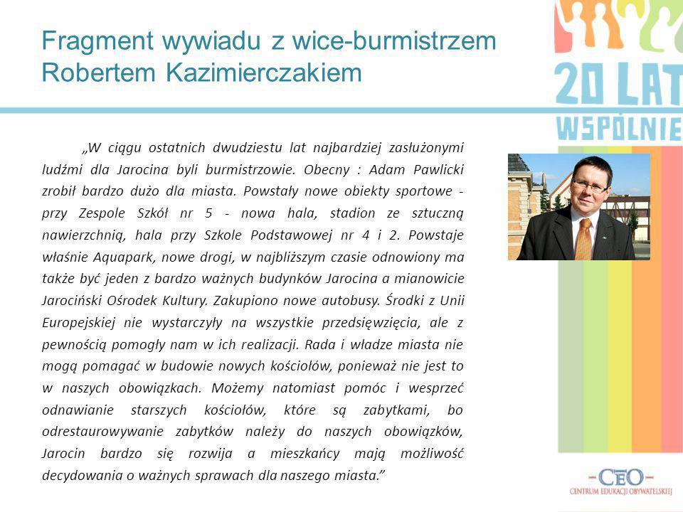Fragment wywiadu z wice-burmistrzem Robertem Kazimierczakiem